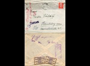 DR 1932, Brieföffnungsstelle Hamburg, Brief m. rücks. 2 Verschlussmarken
