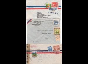 Kolumbien, 3 Luftpost Briefe, davon 2 m. Tuberkulosemarken