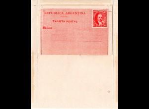 Argentinien, ungebr. 1 1/2+1 1/2 C. Kartenbrief in sauberer Erhaltung. H&G 3