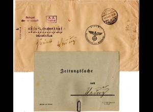 Liechtenstein 1942, Zensur Brief n. Köln, kriegsbedingt als Zeitungssache zurück