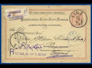 Österreich 1893, 5 Kr. Ganzsache v. Linz m. Rumänien Inconnu Zettel. #S19