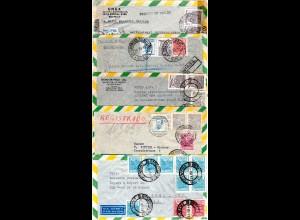 Brasilien 1943/50, 5 internat. Luftpost Briefe, dabei Einschreiben u. Zensur