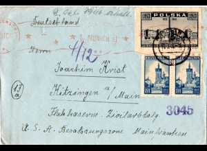 Polen 1946, Zensur Brief v. Wroclaw ins Zivilarbeitslager Flakkaserne Kitzingen