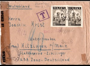 Polen 1946, Brief m. Nachgebühr v. Wroclaw ins Zivilarbeitslager Kitzingen