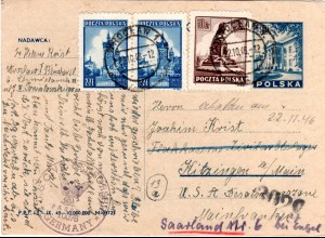 Polen 1946, Zensur Ganzsachenkarte v. Wroclaw ins Zivilarbeitslager Kitzingen