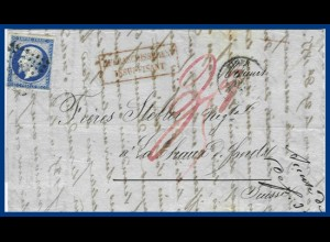 Frankreich 1856, postage due-letter from Nimes to Switzerland. #S9