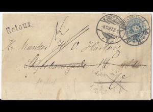 Dänemark 1897, 4 öre Ganzsache, Retourbrief m. diversen Stempeln. #S77