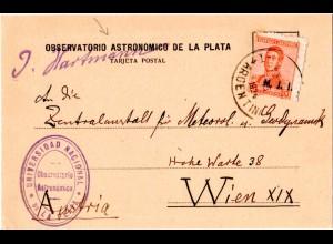 Argentinien 1924, 5 C. Dienst auf Observatorio Astronomico Karte n. Österreich