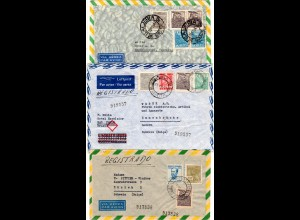 Brasilien 1947, 3 Luftpost Briefe in die Schweiz, dabei 1x Reko!