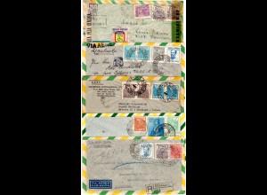 Brasilien 1945-49, 5 Luftpost Briefe, dabei Zensur u. 3x Reko!