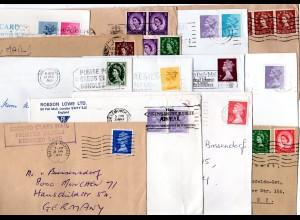 GB, 14 verschiedene Queen Elizabeth Frankaturen auf Belegen n. Deutschland