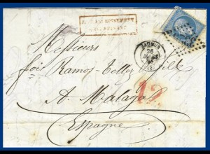 Frankreich 1865, underpaid letter to Spain. Postage due