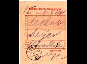 DR 1918, Posteinlieferungsschein m. Stpl. METZ