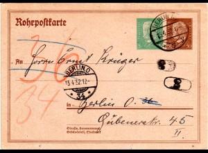 DR RP 24, 5+50 Pf. Rohrpost Ganzsache 1932 sauber gebraucht in Berlin