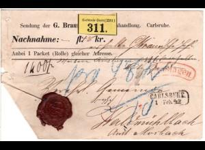 Baden, Nachnahme Paket Brief m. rotem AUSLAGEN Stpl. u. R2 Carlsruhe St.P.