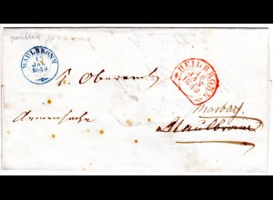 Württemberg 1849, rot Heilbronn u. blau Maulbronn auf Armensache Nachsende Brief