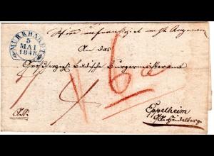 Württemberg 1848, blauer Steigbügelstpl. MURRHARDT klar auf AS-Brief nach Baden
