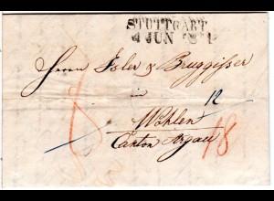 Württemberg 1841, L2 STUTTGART auf Porto Brief i.d. Schweiz