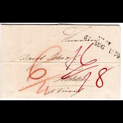 Württemberg 1834, L2 ULM auf sauberem Porto Brief i.d. Schweiz