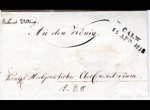 Württemberg 1818, L2 CALW auf sauberem Brief v. Wildberg an den König!