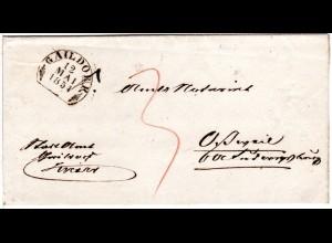 Württemberg 1854, Steigbügelstpl. GAILDORF auf sauberem Porto Brief