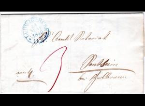 Württemberg 1849, blauer Steigbügelstpl. LUDWIGSBURG auf sauberem Porto Brief