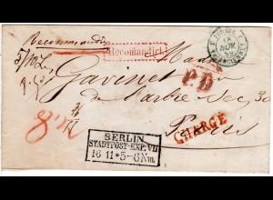 Preussen 1859, R3 BERLIN STADTPOST-EXP: VII auf Einschreiben Brief n. Frankreich