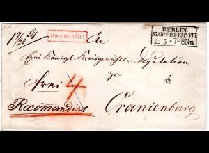 Preussen 1856, R3 BERLIN STADTPOST-EXP:VIII auf Reko Brief n. Oranienburg