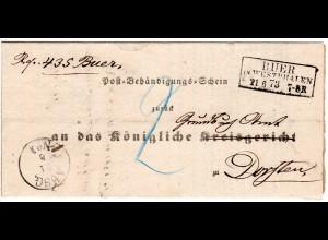 DR 1873, R3 BUER IN WESTPHALEN auf Behändigungs-Schein Brief n. Dorsten