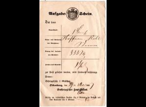 Oldenburg 1867, Postschein des Großherzogl. Haupt-Postamt m. Unterschrift.