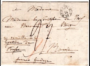 Preussen 1829, Grenzfranko Brief m. Adelsadresse v. Berlin n. Rom Italien