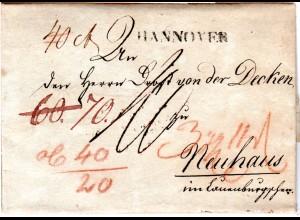Hannover 1811, Porto Brief n. Neuhaus im Lauenburgschen. Napoleonische Zeit!