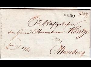 Hannover 1828, L1 BURG auf Brief v. Löhnhorst n. Ottersberg