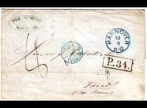 Hannover 1860, K1 HANNOVER u. Vertrags-R1 P.34. auf Porto Brief n. Frankreich.