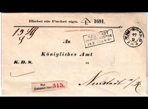 NDP 1869, K2 HANNOVER u. R3 Neustadt am Rübenberge auf Vordruck Paket Brief