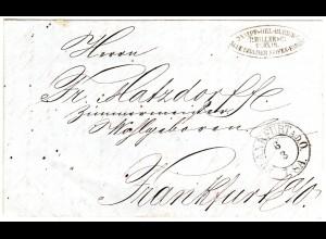 Preussen 1858, K2 FRANKFURT A.D.O. auf Orts Brief m. Absender v. Berlin!