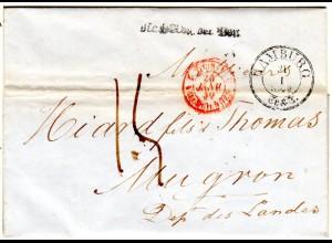 Hamburg 1849, Taxis-K3 u. Nach Abg. der Post auf Porto Brief n. Frankreich