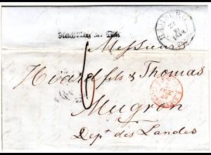 Hamburg 1849, Taxis-K3 u. Nach Abg der Post auf Porto Brief n. Mugron Frankreich