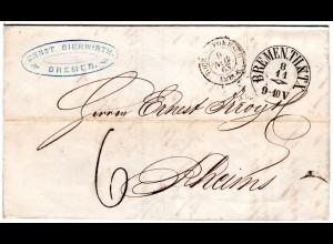 Bremen 1863, Taxis-K1 klar auf Porto Brief via Forbach n. Frankreich