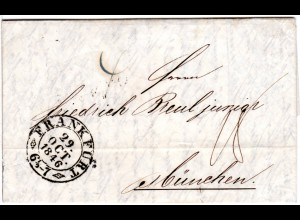 Taxis 1846, Zier-K2 FRANKFURT auf Porto Brief n. Bayern