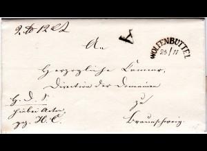 """Braunschweig 1845, HKS WOLFENBÜTTEL u. """"A"""" auf Brief n. Braunschweig."""