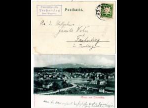 Bayern 1902, Posthilfstelle TACHERTING Taxe Wiesmühl auf Traunstein-AK m. 5 Pf.