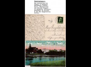 Bayern 1911, Reservestempel MÜHLDORF R auf Farb-AK m. 5 Pf.