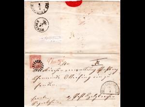 Bayern, MR 595 WOLFRATSHAUSEN u. L1 Chargé klar auf Brief m. 3 Kr. n. Otterfing