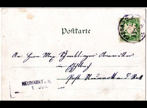 Bayern 1901, Aushilfs-L2 NEUMARKT a.R. als Ank.Stpl. auf AK m 5 Pf. v. Passau