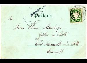 Bayern 1901, Aushilfs-L2 NEUMARKT a.R. als Ank.Stpl. auf Litho-AK v. Passau