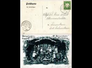 Bayern 1907, Reservestempel DEISENHOFEN R auf Unterhaching sw-AK m. 5 Pf.