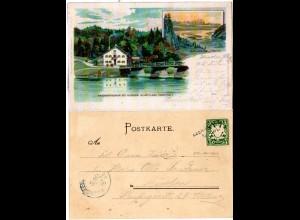 Bayern 1900, Aushilfstpl. L2 EBENHAUSEN auf Bruckenfischer Litho-AK m. 5 Pf.