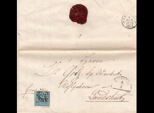 Bayern 1862, MR 112 ERDING auf Brief m. 3 Kr. n. Landshut