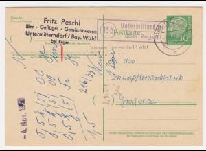 1958, Landpoststempel Untermitterdorf über Regen klar auf Heuss Ganzsache. #2013